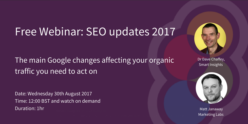 Matt Janaway and Dave Chaffey FREE SEO webinar August 2017
