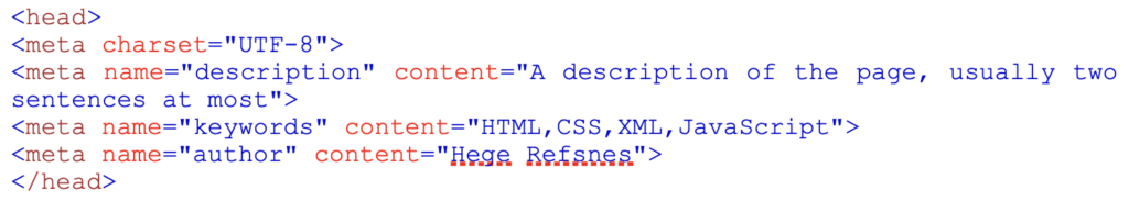 Graphic to show example of what a meta code is in html code